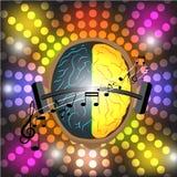 Vector el concepto del ser humano del cerebro del efecto del club nocturno del festival de música Imagen de archivo