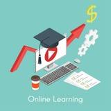 Vector el concepto isométrico para en línea aprender, educación Foto de archivo libre de regalías