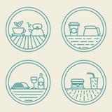 Vector el concepto linear de los alimentos de preparación rápida de las plantillas de la insignia adentro ilustración del vector