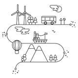 Vector el concepto y los elementos infographic del diseño en estilo linear, generadores de la energía alternativa, la protección  libre illustration