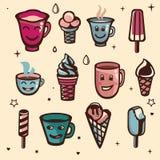 Vector el conjunto con helado y tazas libre illustration