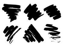 Vector el conjunto de diversos cepillos Líneas negras de la brocha libre illustration
