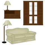 Vector el conjunto de muebles antiguos ilustración del vector