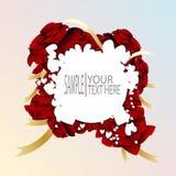 Vector el corazón abstracto blanco en plantilla de las rosas rojas Fotografía de archivo