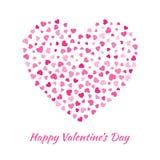 Vector el corazón con el pequeño fondo rosado de la tarjeta del día de tarjetas del día de San Valentín de los corazones Fotografía de archivo libre de regalías