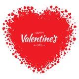 Vector el corazón del Grunge con el pequeño fondo rojo de día de tarjetas del día de San Valentín de los corazones Imagen de archivo