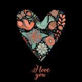 Vector el corazón floral hecho de tarjeta de felicitación de las flores y de las hierbas Imágenes de archivo libres de regalías