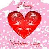 Vector el corazón rojo el día del ` s de la tarjeta del día de San Valentín para su diseño Fotos de archivo