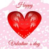 Vector el corazón rojo el día del ` s de la tarjeta del día de San Valentín para su diseño imagen de archivo libre de regalías