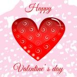 Vector el corazón rojo el día del ` s de la tarjeta del día de San Valentín para su diseño imagenes de archivo