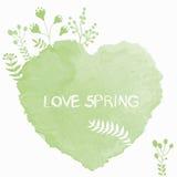 Vector el corazón verde de la acuarela con las flores florecientes de la primavera Fotos de archivo