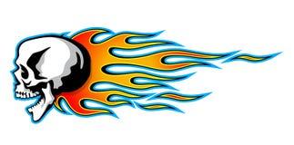 Vector el cráneo ardiente con las llamas tribales clásicas aisladas en pizca stock de ilustración