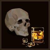 Vector el cráneo, el vidrio de whisky y los icecubes Foto de archivo
