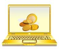 Vector el cuaderno abierto con las monedas de oro en la pantalla Imagen de archivo
