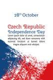 Vector el Día de la Independencia de la República Checa del ejemplo, bandera en estilo de moda del grunge 28 de octubre plantilla Fotos de archivo