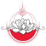 Vector el dibujo con la flor de Lotus del negro del esquema, los puntos rojos y los remolinos aislados Imagenes de archivo
