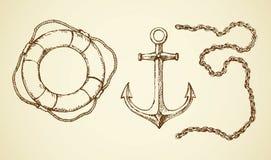 Vector el dibujo de la cadena, del ancla y de la cuerda de salvamento Foto de archivo