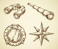 Vector el dibujo de prismáticos, telescopio, ventana, viento subió Fotografía de archivo libre de regalías