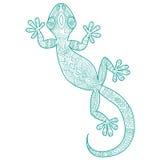 Vector el dibujo de una salamandra del lagarto con los modelos étnicos Imagen de archivo libre de regalías