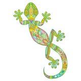 Vector el dibujo de una salamandra del lagarto con los modelos étnicos Imagenes de archivo