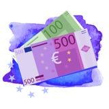 Vector el dibujo de 100 y 500 cuentas euro Fotos de archivo libres de regalías