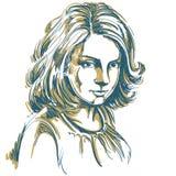 Vector el dibujo del arte, retrato de la muchacha romántica magnífica aislada stock de ilustración
