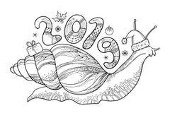 Vector el dibujo del caracol de Achatina del esquema o del caracol de tierra gigante africano con el número 2019 en negro aislado Fotografía de archivo