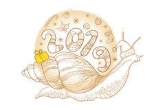 Vector el dibujo del caracol de Achatina del esquema o del caracol de tierra gigante africano con el número 2019 y la caja de reg Imagenes de archivo