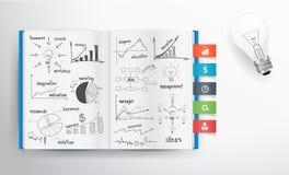 Vector el dibujo del concepto y del gráfico del negocio en el libro Imagenes de archivo