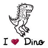 Vector el dinosaurio lindo de la historieta con el amor Dino de las palabras i Foto de archivo libre de regalías
