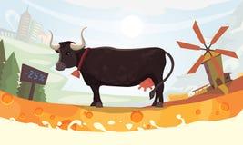 Vector el diseño con la vaca, Milk River y paisaje Imagenes de archivo