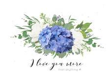 Vector el diseño de tarjeta floral con el ramo blando de flor azul de la hortensia, rosas blancas del jardín, amapolas, eucalipto stock de ilustración