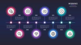 Vector el diseño infographic de 8 pasos, carta de la cronología, presentación Foto de archivo libre de regalías