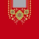 Vector el diseño para las camisas del cuello, las blusas, camiseta Cuello étnico de dos flores de los colores Frontera decorativa stock de ilustración