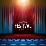 Vector el diseño festivo con las luces y escena y los asientos de madera Cartel para el concierto, partido, teatro, plantilla de  Fotos de archivo libres de regalías