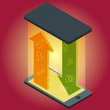 Vector el dispositivo del smartphone con los iconos de los usos y los elementos infographic en diseño plano Fotos de archivo libres de regalías