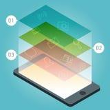 Vector el dispositivo del smartphone con los iconos de los usos y los elementos infographic en diseño plano Imagenes de archivo