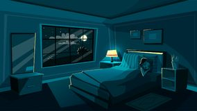 Vector el dormitorio lindo el dormir de la mujer joven en la noche stock de ilustración