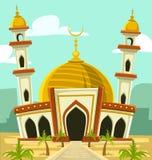 Vector el edificio de la mezquita de la historieta con la bóveda y la torre del oro