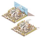 Vector el edificio isométrico de la fábrica con el icono de los tubos que fuman libre illustration