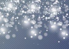 Vector el efecto descendente de la nieve aislado sobre fondo transparente con el bokeh borroso Foto de archivo libre de regalías