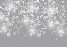 Vector el efecto descendente de la nieve aislado sobre fondo transparente con el bokeh borroso Foto de archivo