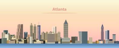 Vector el ejemplo abstracto del horizonte de la ciudad de Atlanta en la salida del sol stock de ilustración