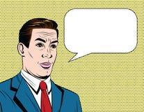 Vector el ejemplo cómico colorido del estilo de un hombre de negocios con la cara emocional sobre fondo del punto stock de ilustración