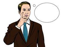 Vector el ejemplo cómico colorido del estilo de un hombre de negocios con la cara preocupante ilustración del vector