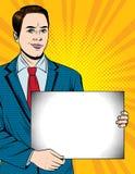 Vector el ejemplo colorido del estilo del arte pop de un individuo hermoso joven que sostiene una hoja del Libro Blanco stock de ilustración