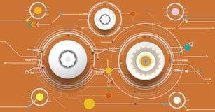 Vector el ejemplo colorido y la rueda de engranaje en placa de circuito Imagenes de archivo