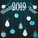 Vector el ejemplo con el Año Nuevo sano 2019 del fondo congratulatorio stock de ilustración