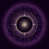 Vector el ejemplo con el círculo del horóscopo, símbolos del zodiaco y constelaciones de la astrología en el fondo estrellado del libre illustration
