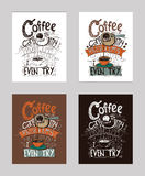 Vector el ejemplo con cita inspirada del motivationg sobre amor al café en cezve libre illustration